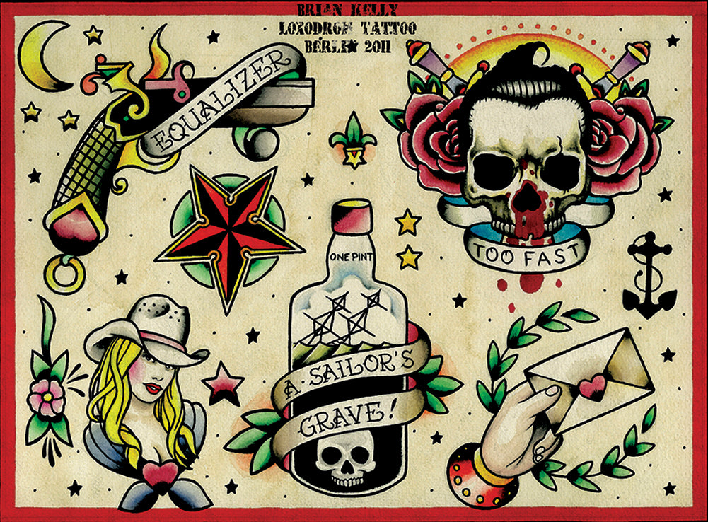 sailors grave revolver americana alternative artwork assorted painting traditional tattoo flash designs color artwork artist