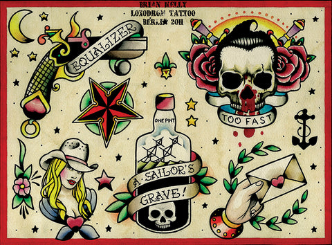 flash 3 by brian kelly cowgirl skull nautical tattoo designs canvas art print sailors-grave revolver americana alternative-artwork assorted