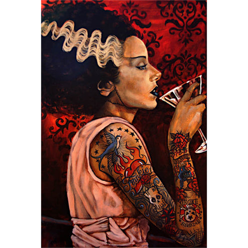 tattooed alcohol beverage home bar house classic monster bride frankenstein painting tattoo flash design color artwork colorf