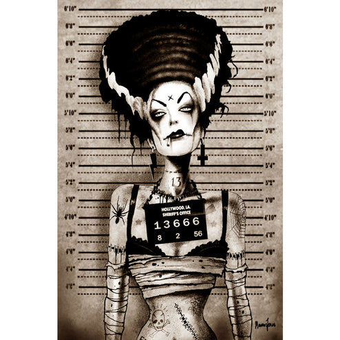 Bride Mugshot by Marcus Jones Tattoo Unstretched Canvas Art Print
