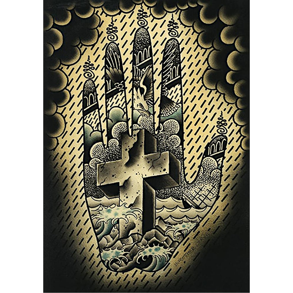 Hand Cross by Brother Greg Tattoo Unframed Canvas Art for Framing