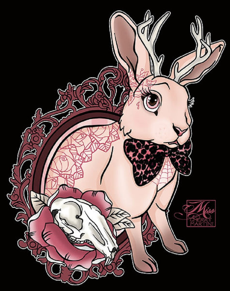 bunny tattoo by miss cherry martini canvas or paper rolled art print rabbit-with-antlers  mythical-creature  punk tattooed tattoo