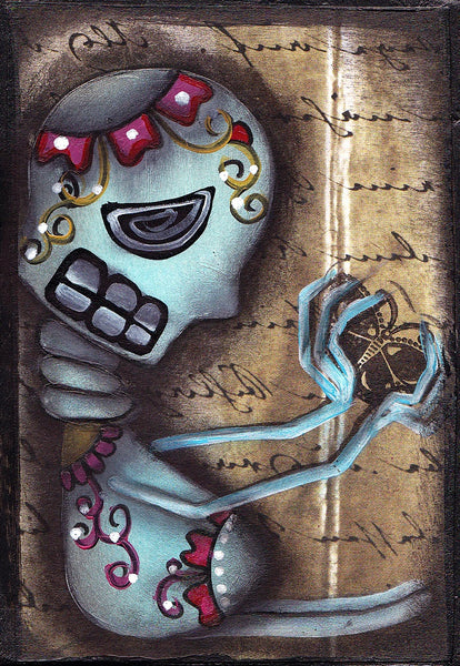 butterfly by abril andrade griffith day of the dead skeleton giclee art print moth  mexican  alternative artwork painting