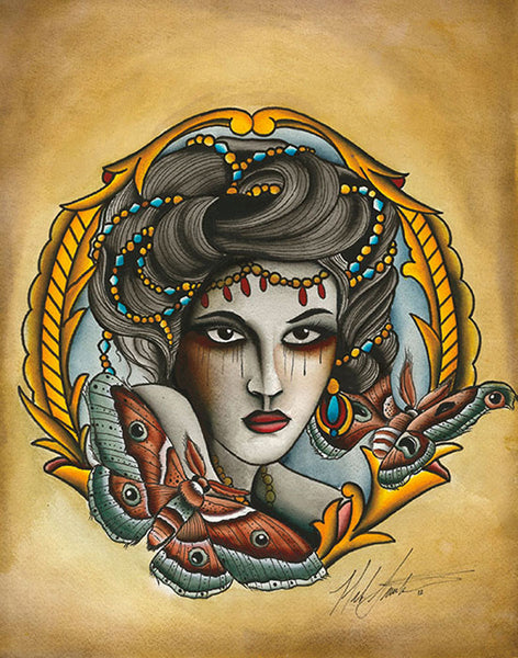 butterfly lady by mikey sarratt crying woman moths tattoo canvas fine art print moth portrait indie traditional-tattoo-designs alternative-artwork