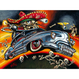 skeletons skulls winged eyeball hot rod bomb painting traditional tattoo flash designs color artwork artist black wood home d