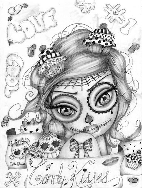 candy kisses by dottie gleason sugar skull girl tattoo canvas fine art print artwork  sketch black-and-white paintings punk