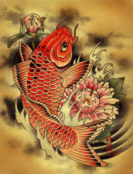 painting traditional tattoo flash designs color artwork artist black wood home decor large decoration alternative unique fin