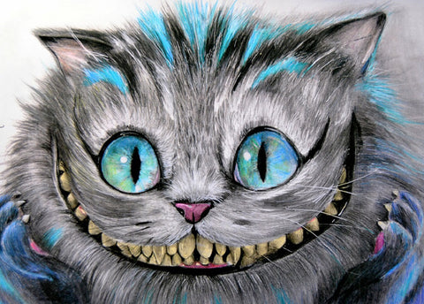 cheshire cat by manuela lai alice in wonderland tattoo framed fine art print grinning smiling alternative artwork picture