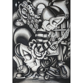 Chicano Me by Dave Sanchez Mexican Black White Tattoo Canvas Art Print