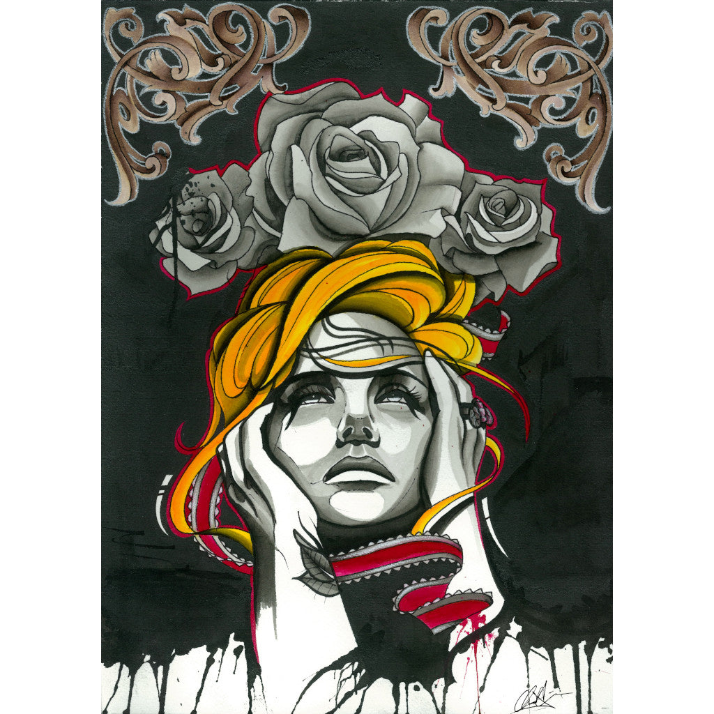 tattooed rose blonde woman ribbon gothic sad painting traditional tattoo flash designs color artwork artist black wood home d