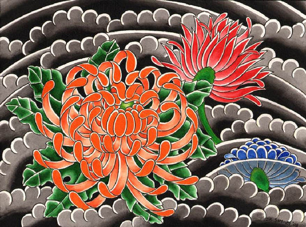 chrysanthemum by david simmes canvas or paper rolled art print floral  asian  fine  artwork  gallery
