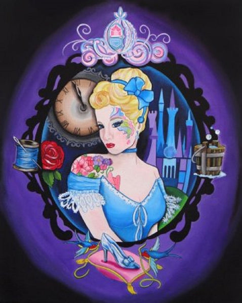 cinderella by melody smith canvas or paper rolled art print disney-princess fan-art punk-edit tattooed-princess alternative-artwork
