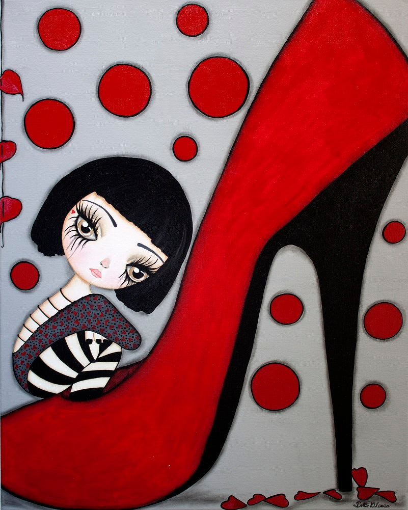 Coco by Dottie Gleason Gothic Girl w Red Stiletto Canvas Art Print