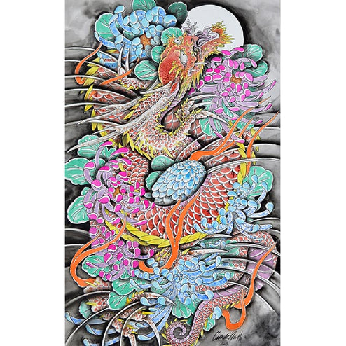 cool colorful asian bedroom living room wall art painting home japan chinese fantasy traditional decor fine artwork black pic