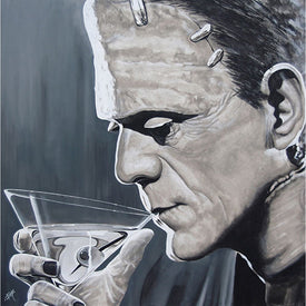 black white picture mcm drinking martini room classic mid-century modern home bar men cool movie frankenstein alcohol monster
