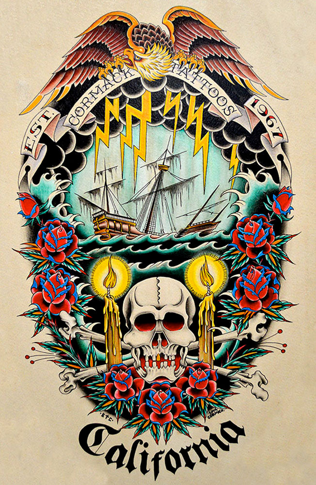 Cormack Tattoos by Cormack California Nautical Ship Canvas Art Print