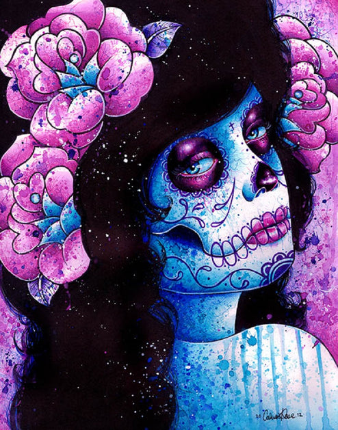sugar skull dia de los muertos mask death artwork painting traditional tattoo flash designs color artwork artist black wood h