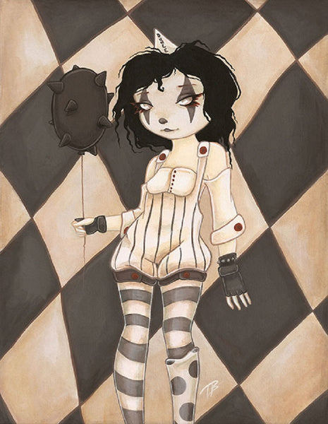 coulrophobia iv by terra bidlespacher canvas or paper rolled art print carnie jester mime gothic steampunk