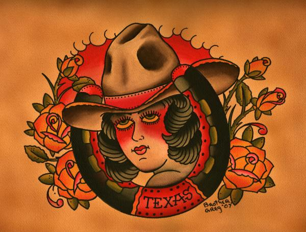 texas luck cowboy cowgirl western rockabilly artwork wall cowgirl america fine gallery classic flash style home décor cool ol