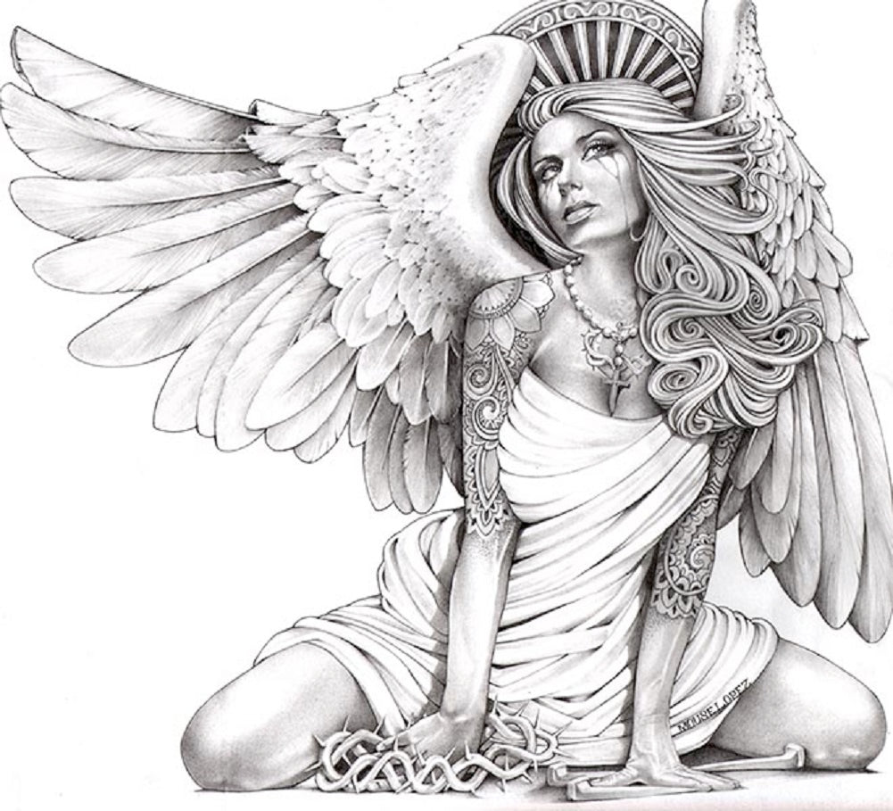 Crying Angel by Mouse Lopez Sexy Tattooed Woman Canvas Art Print
