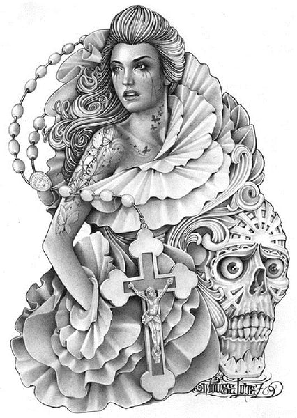 Crying Butterfly by Mouse Lopez Skull Rosary Tattoo Canvas Art Print