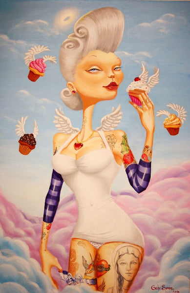cupcake angel by gabi spree tattooed woman canvas art giclee print portrait  cupcakes  angel wings  tattoo-sleeve  sexy
