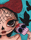 dare to dream by dottie gleason sugar skull big eye girl tattoo canvas art print death-mask girly-tattoos butterflies skeleton alternative-artwork