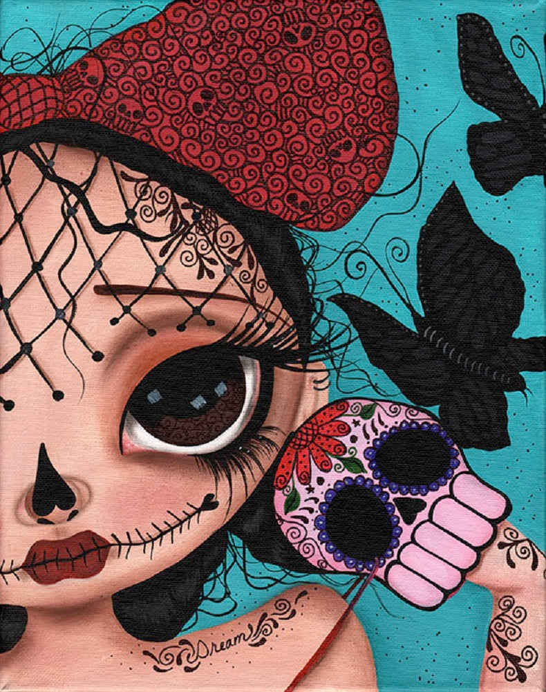 Dare to Dream by Dottie Gleason Sugar Skull Girl Wall Art Print