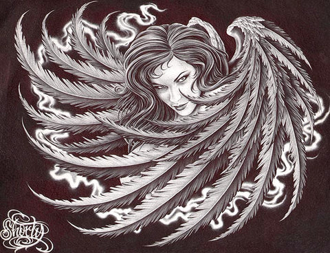 dark angel by fernando shorty lopez sexy evil woman tattoo canvas fine art print sexy-woman  angel-wings  cross  religious  alternative-artwork