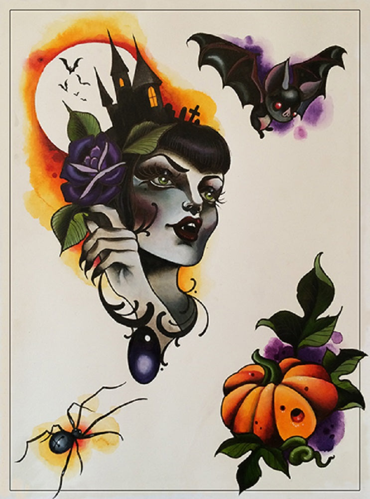 halloween tattoo design spider artwork alternative artwork painting traditional tattoo flash designs color artwork artist bla