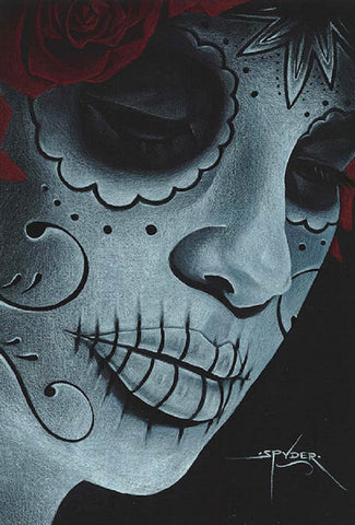 davina by spyder day of the dead sugar skull death mask tattoo canvas art print dia-de-los-muertos  latina  ruins artwork original