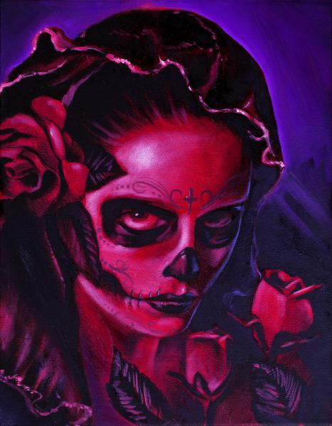 Day of Dead Mary by Manuel Valenzuela Catholic Tattoo Canvas Art Print