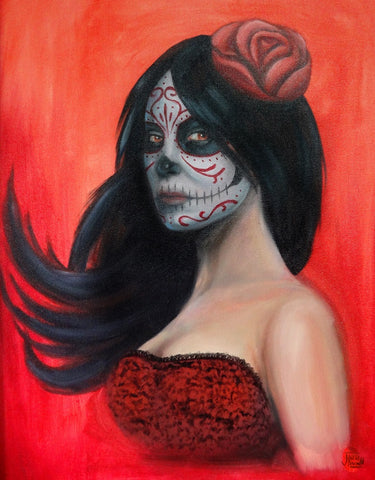 day of dead red by jesse neuman sugar skull tattoo artwork canvas fine art print dia-de-los-muertos skeleton latina death-mask picture