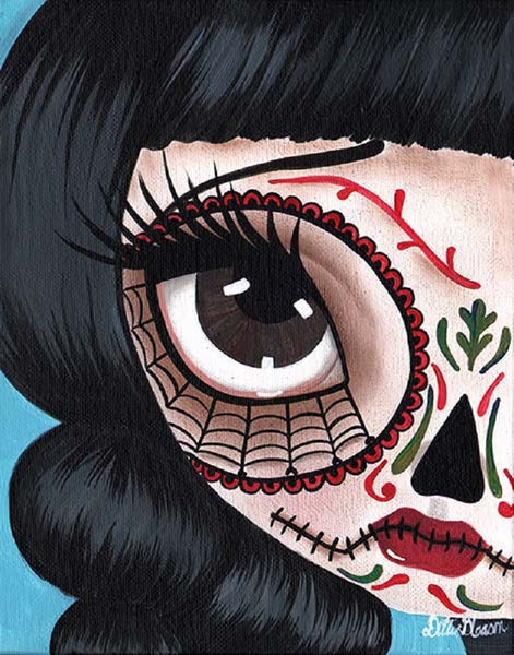 day of the dead no 11 by dottie gleason dia de los muertos canvas fine art print fine teens  goth dark carnie