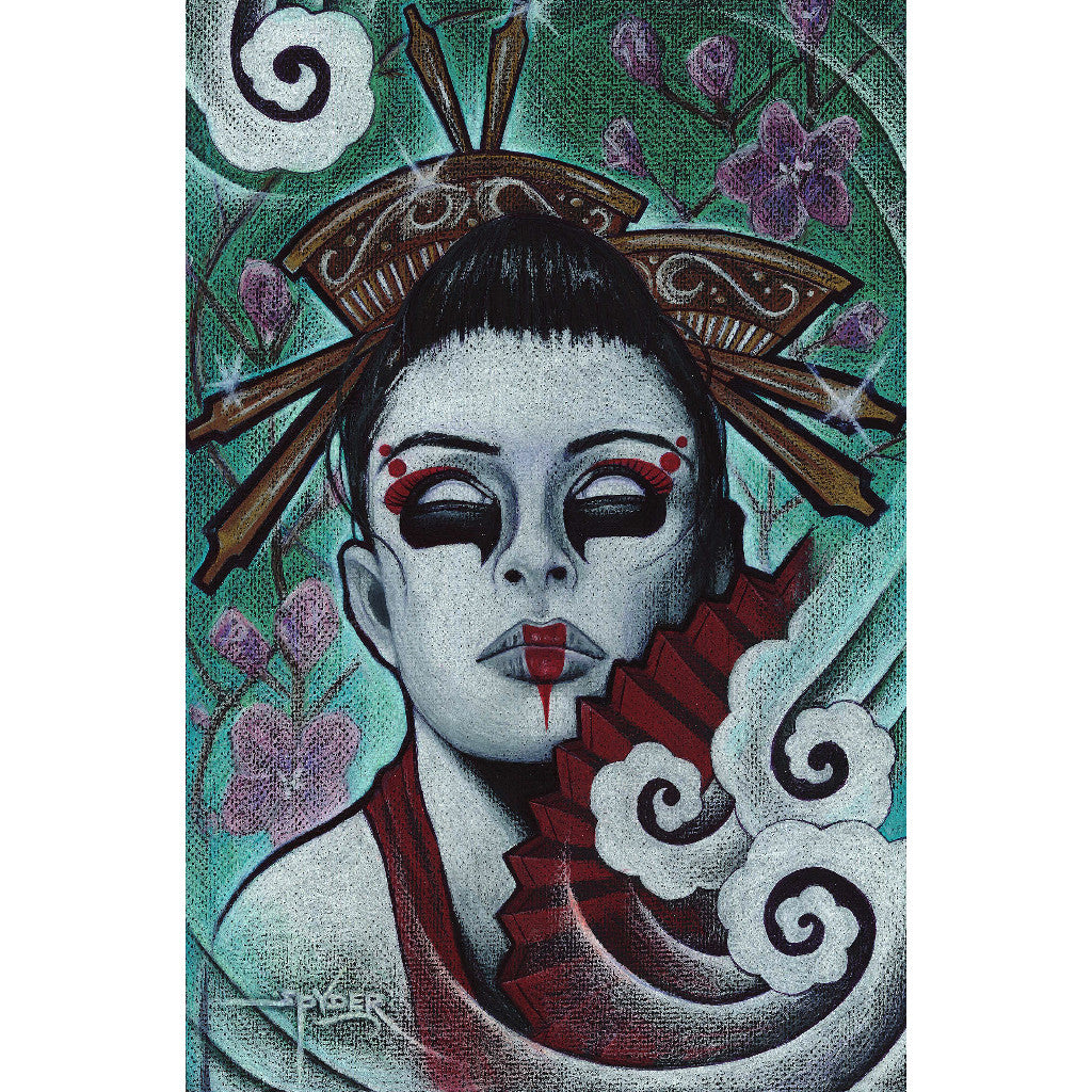 cherry blossom asian gothic skull traditional woman dead zombie monster wall art framed ready to hang living room large canva
