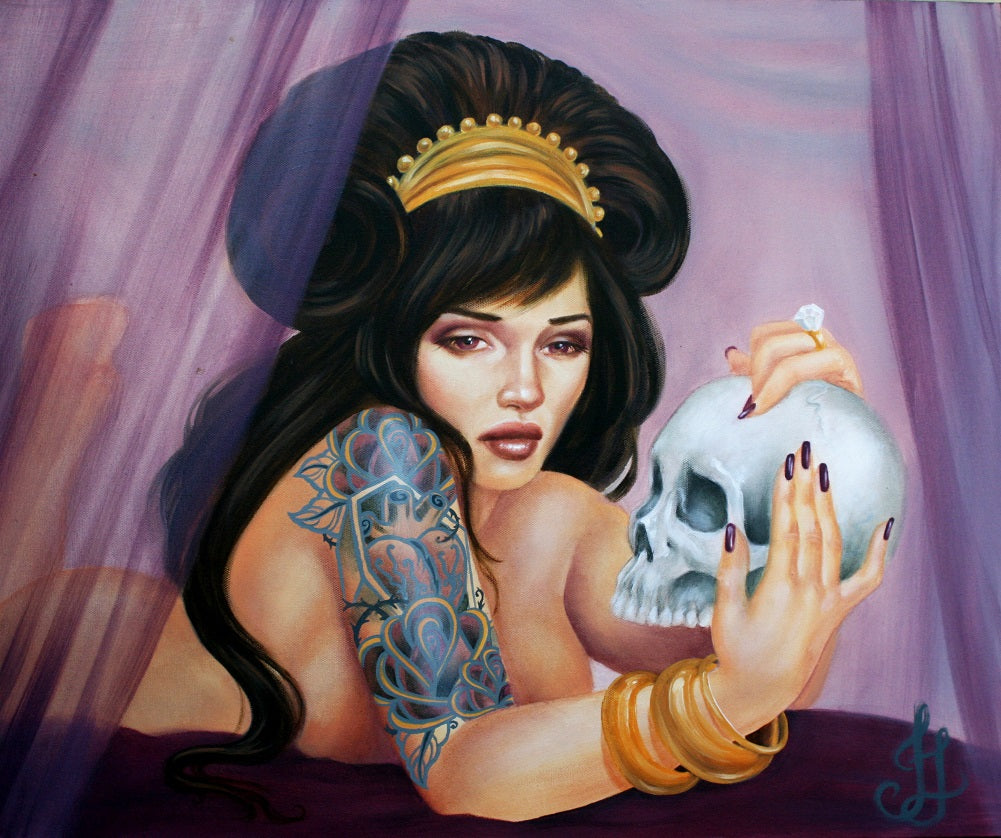 Death Bed by Jesso Pin-up Girl with Skull Bedroom Fine Art Print