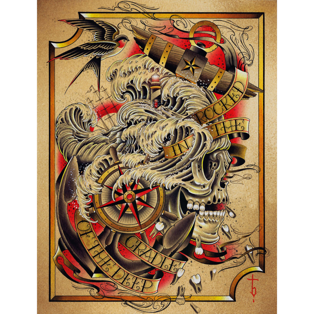 Tyler Bredeweg Navy American Traditional Tattoo Canvas Art Print