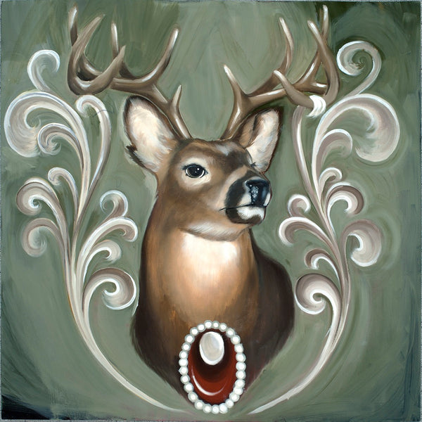 Deer with Antlers by Thea Fear Hunters Trophy Canvas Giclee Art Print