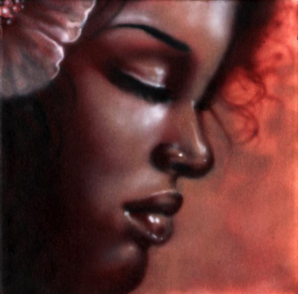 Delicate Flower by Jesso Black Woman POC Unstretched Canvas Art