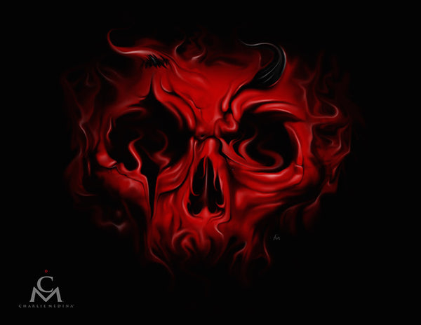 Demonic by Charlie Medina Red Devil Skull Artwork Canvas Art Print
