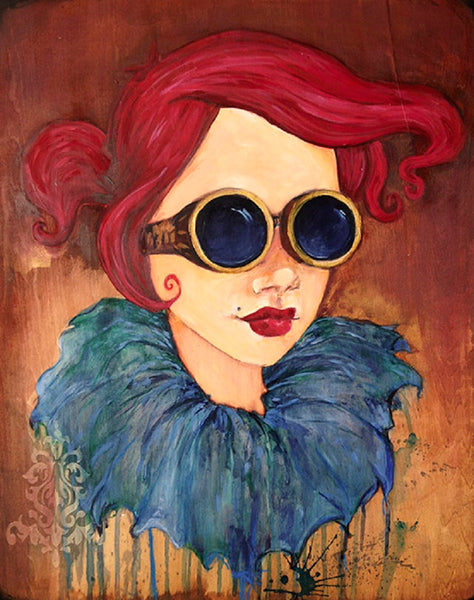 derby girl by heather younger steampunk victorian woman canvas giclee art print vintage victorian red-hair girl artwork