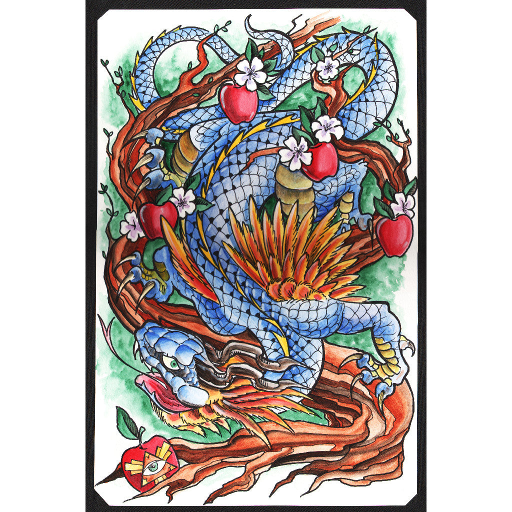 tattoo dragon eden temptation snake evil eye asian tattoo color colorful artwork pictures best high quality old school tradit
