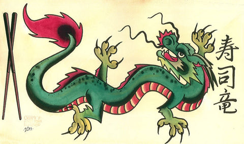 dragon sushi by chris smith traditional asian tattoo artwork canvas art print oriental  japanese  mythical  alternative old-school