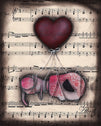 drifting by abril andrade musical sugar skull w heart balloon framed wall art print day-of-the-dead  mexican  dia-de-los-muertos artwork painting