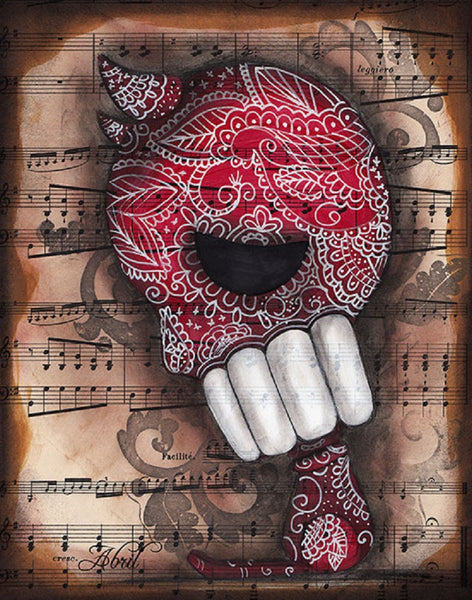 dying to live by abril andrade sugar skull devil w sheet music canvas art print day-of-the-dead  mexican  dia-de-los-muertos artwork painting