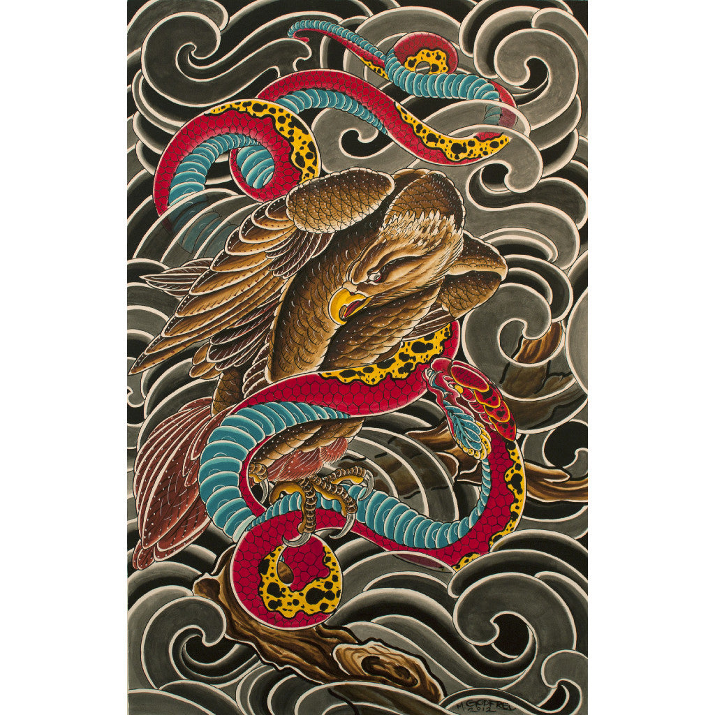 Eagle by Mike Godfrey Japanese Tattoo Unframed Canvas Art Print