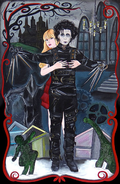 edward scissor by melody smith scissorhands gothic depp movie canvas art print johnny-depp tim-burton poster decor artwork