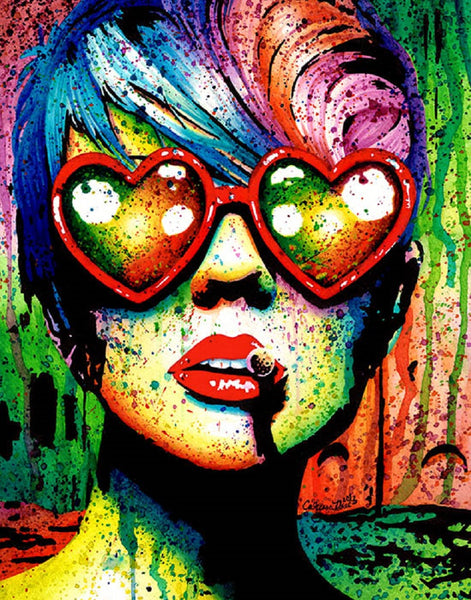 electric wasteland by carissa rose canvas or paper rolled art print punk  heart-sunglasses  paint splatter  artwork
