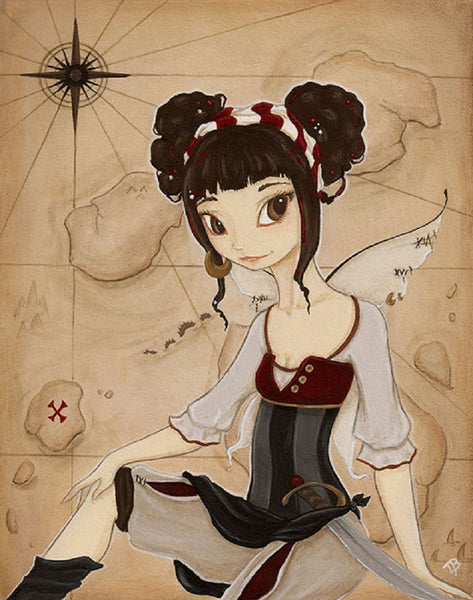 elizabeth by terra bidlespacher steampunk fairy girl fantasy canvas art print ocean mythical-creature antique-map captain ship