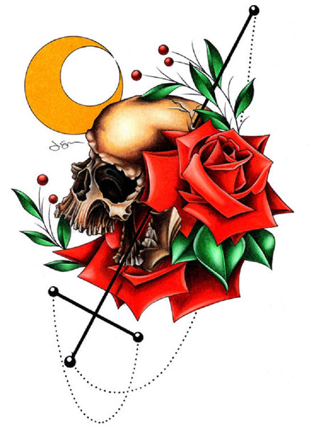 fatal eclipse by jeff saunders canvas or paper rolled art print half-moon upside-down-cross downward-cross tattooed-roses anti-religion
